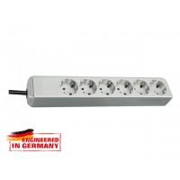 Удлинитель 1.5м (6 роз., 3.3кВт, с/з, ПВС) светло-серый Brennenstuhl Eco-Line (провод 3х1,5мм2; сила тока 16А; с/з - с заземляющим контактом)