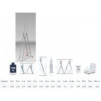 Лестница алюм. 3-х секц. 275/709/290см 3х11 ступ., 16,6кг PRO STARTUL (ST9942-11)