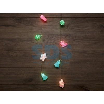 Гирлянда светодиодная <Новый год> 1,5 м, прозр. ПВХ, 10 LED, теплый белый, питание 2 х АА (батарейки (Применяется для эксплуатации в помещении.) (NEON
