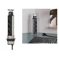 Удлинитель-башня 2м встраиваемый в столешницу (3 роз, H05VV-F 3G1.5) Brennenstuhl (вертикальный выдвижной настольный удлинитель для постоянного монтаж