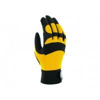 Перчатки виброзащитные из синтетической кожи, р-р 9/L, черно-желтые, JetaSafety (JAV01-9/L Виброзащитные перчатки, синтетич. кожа, черно-желт) (JETA S